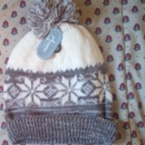 Double knitted snowflake hat